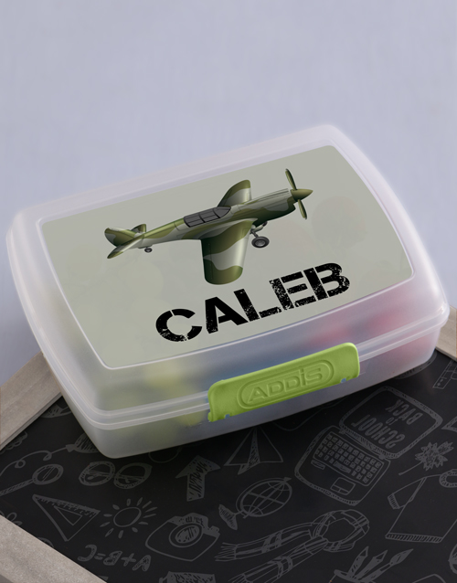 kids: Personalised Fighter Plane Boys Lunch Box!