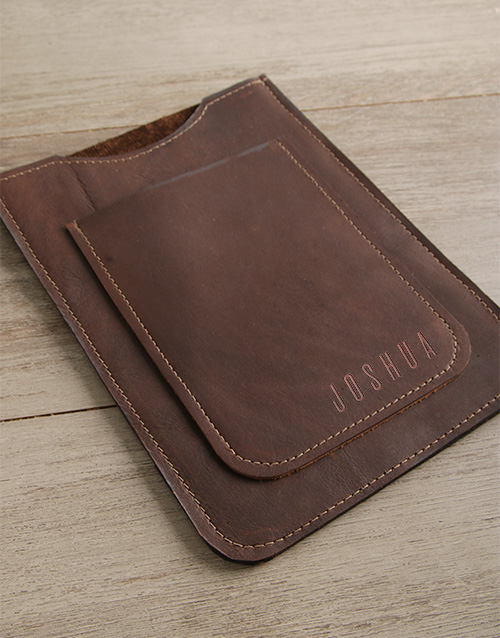 personalised: Personalised Brown Leather Tablet Cover!