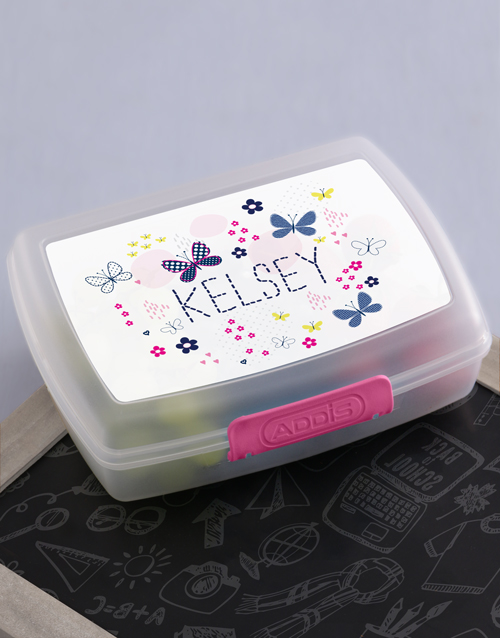#packyourownlunchday Personalised https://www.netflorist.co.za/shop/gifts/kids/lunch-boxes/personalised-butterfly-girls-lunch-box/