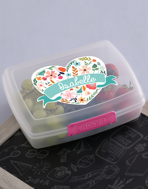 kids: Personalised Floral Heart Girls Lunch Box!