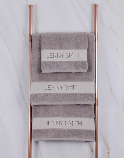 bath-and-body: Personalised Modern Name Stone Towel Set!
