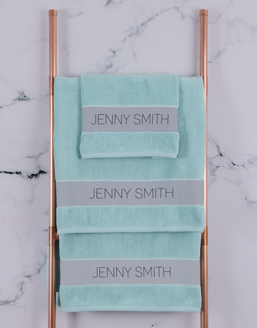 bath-and-body: Personalised Modern Name Duck Egg Towel Set!