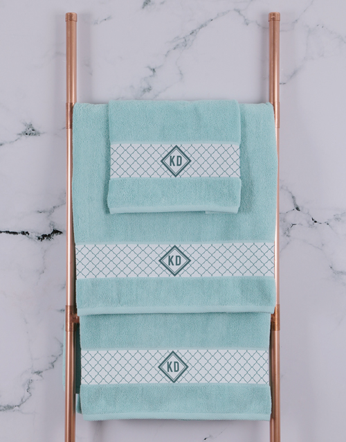 bath-and-body: Personalised Crest Duck Egg Towel Set!