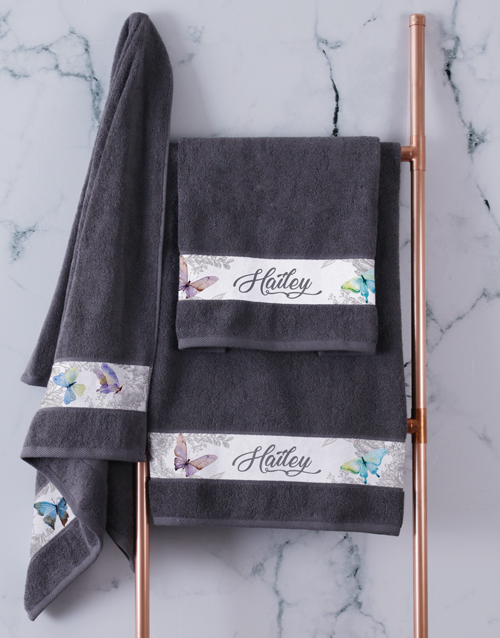 bath-and-body: Personalised Charcoal Butterfly Towel Set!
