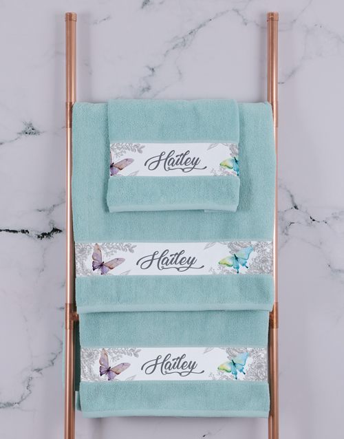 bath-and-body: Personalised Butterfly Duck Egg Towel Set!