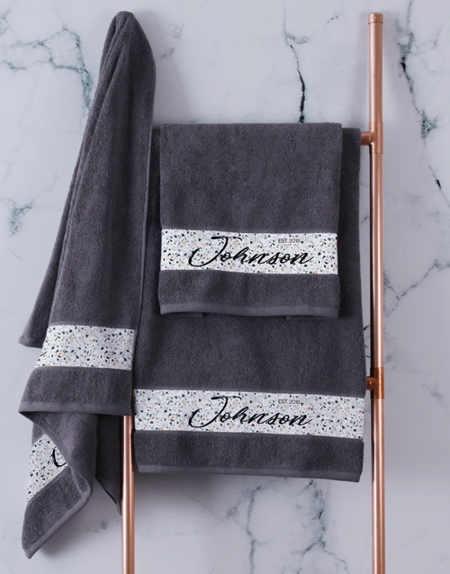 bath-and-body: Personalised Family Charcoal Towel Set!