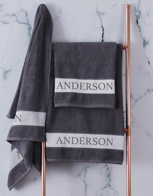 bath-and-body: Personalised Charcoal Scroll Towel Set!