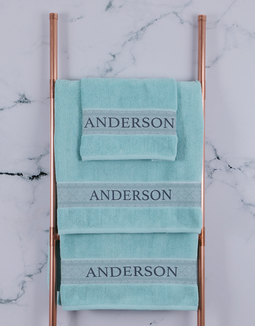 bath-and-body: Personalised Duck Egg Scroll Towel Set!