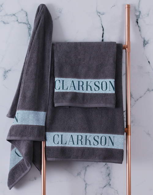 bath-and-body: Personalised Surname Charcoal Towel Set!