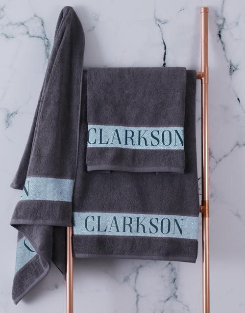personalised: Personalised Surname Charcoal Towel Set!