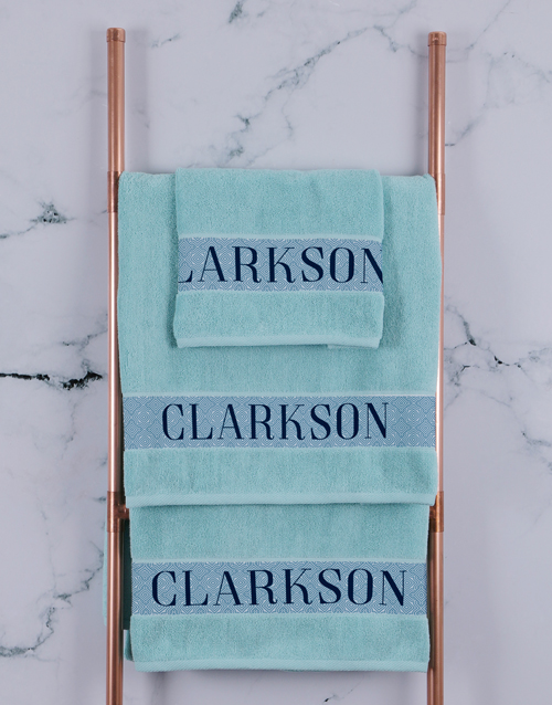 bath-and-body: Personalised Surname Duck Egg Towel Set!