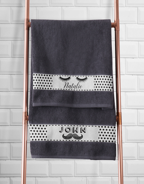 bath-and-body: Personalised Stache and Lash Towel Set!