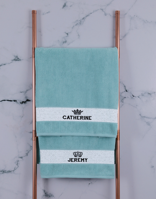 bath-and-body: Personalised Royal Duck Egg Towel Set!