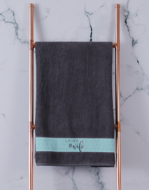 bath-and-body: Personalised Husband and Wife Charcoal Towel Set!