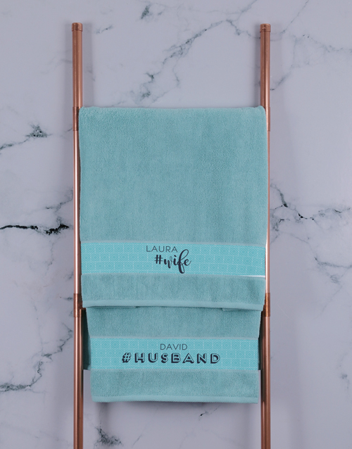 bath-and-body: Personalised Husband and Wife Duck Egg Towel Set!