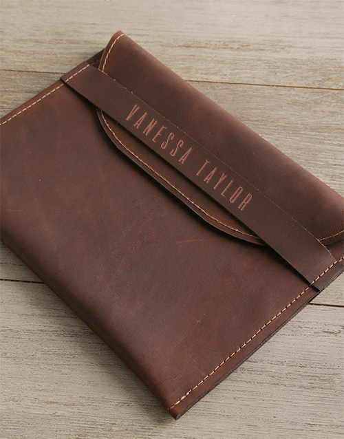 apparel: Personalised Brown Envelope Cover Front Strap!