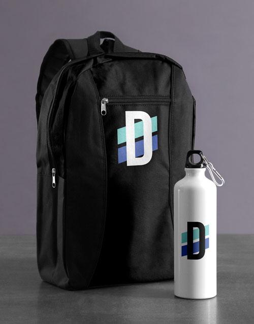 personalised: Personalised Initial Backpack & Waterbottle!