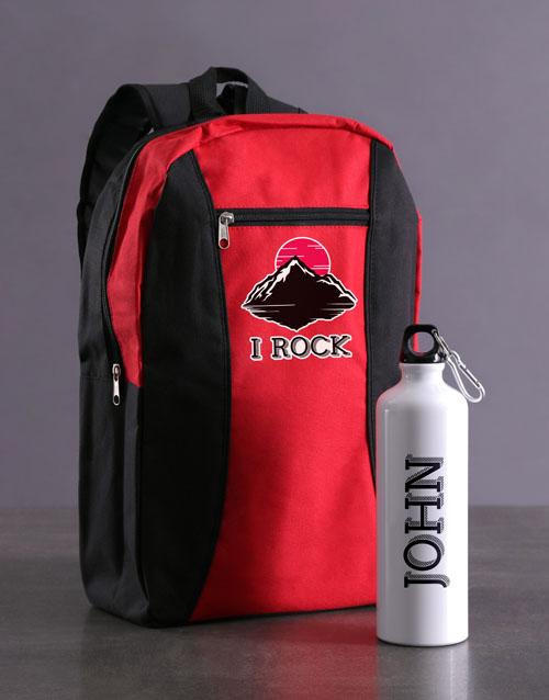 activewear: Personalised You Rock Backpack & Waterbottle!