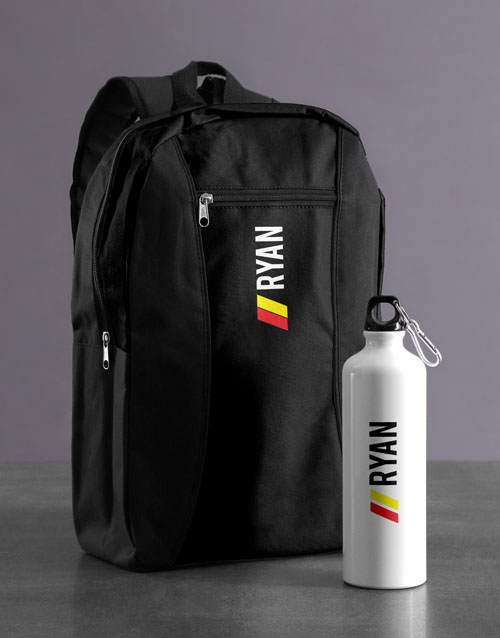 personalised: Personalised Racing Stripe Backpack & Waterbottle!