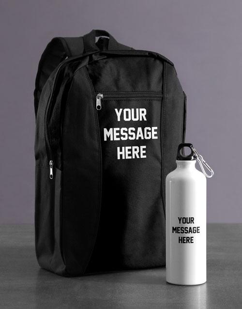 personalised: Personalised Message Backpack & Waterbottle!