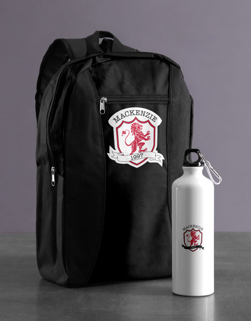 personalised: Personalised Crest Backpack & Waterbottle!