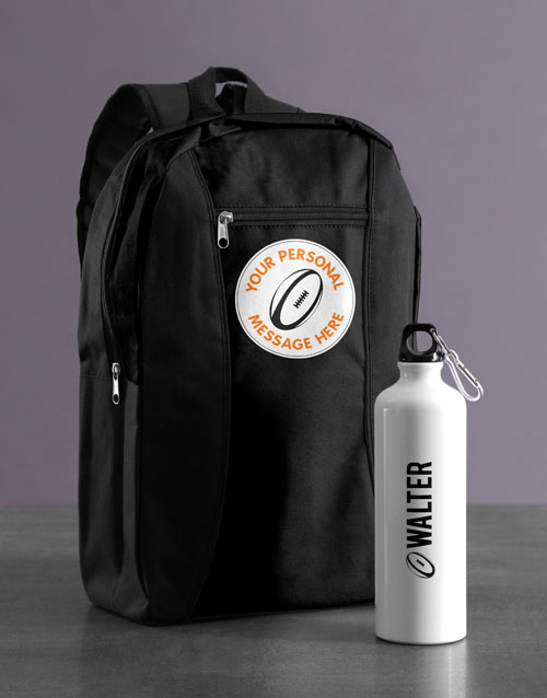 personalised: Personalised Rugby Backpack & Waterbottle!