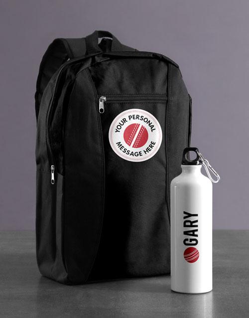 personalised: Personalised Cricket Backpack & Waterbottle!