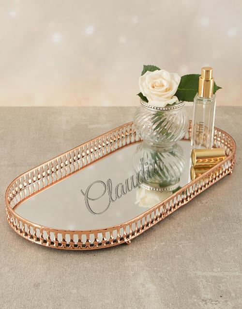 personalised: Personalised Rose Gold Mirror Vanity Tray!