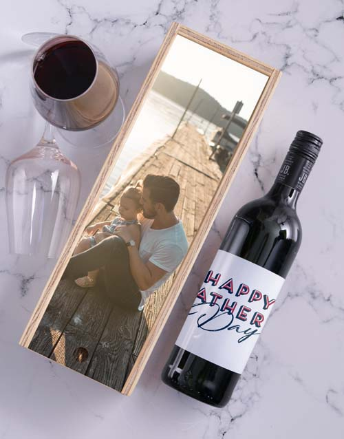 fathers-day: Personalised Happy Fathers Day Wine In Crate!