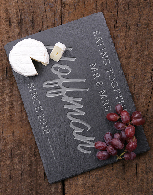 homeware: Personalised Eating Together Slate Board!