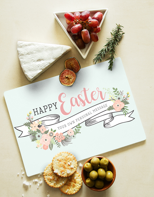 easter: Personalised Happy Easter Glass Chopping Board!