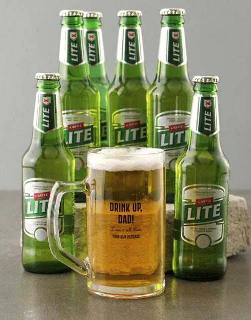 anniversary: Personalised Drink Up Dad Beer Mug!