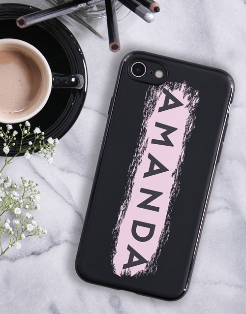 personalised: Personalised Brushstroke Black iPhone Cover!