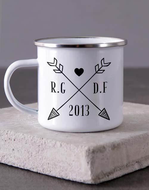 anniversary: Personalised Couples Initials Camper Mug!