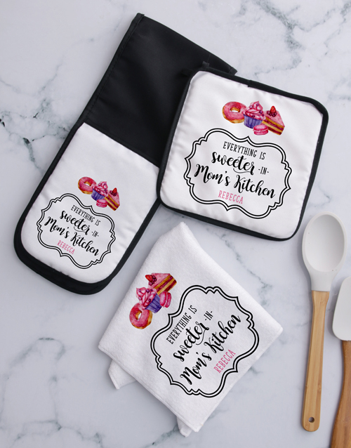 mothers-day: Personalised Sweeter Mom Kitchen Set!