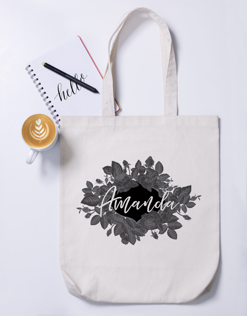 mothers-day: Personalised Vintage Rose Tote Bag!