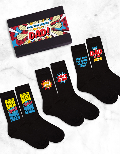 birthday: Personalised 3 Pair Socks Box Dad Father's Day!