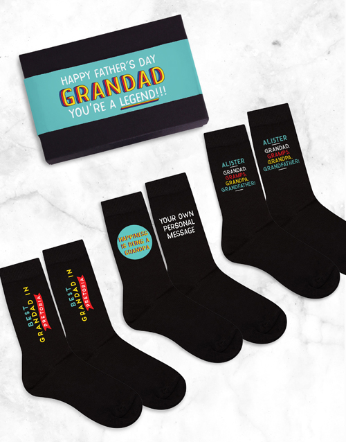 birthday: Personalised 3 Pair Socks Box Grandad Father's Day!