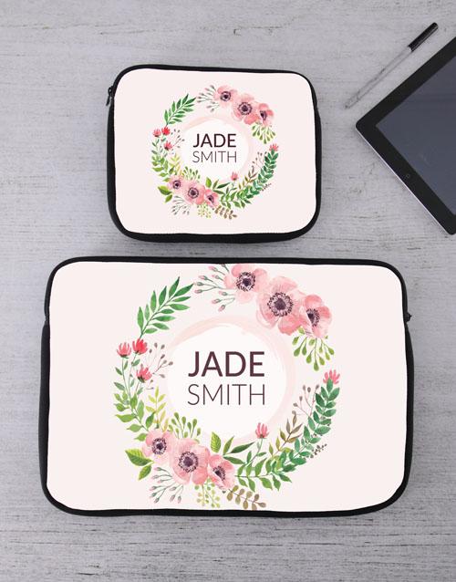 apparel: Personalised Floral Wonder Tablet or Laptop Sleeve!