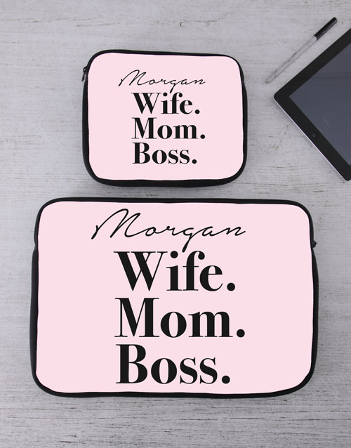 personalised: Personalised Wife Mom Boss Tablet or Laptop Sleeve!