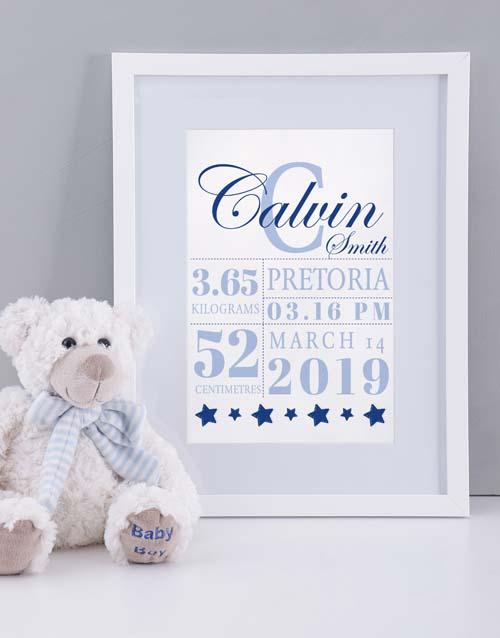 personalised: Personalised Framed Baby Boy Birth Print!