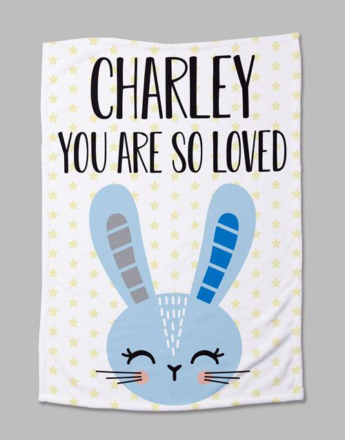 apparel: Personalised Bunny Baby Fleece Blanket!