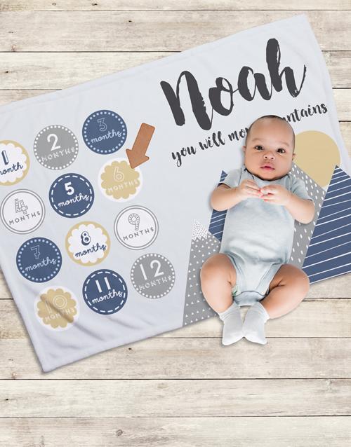 baby: Personalised Move Mountains Milestone Blanket!