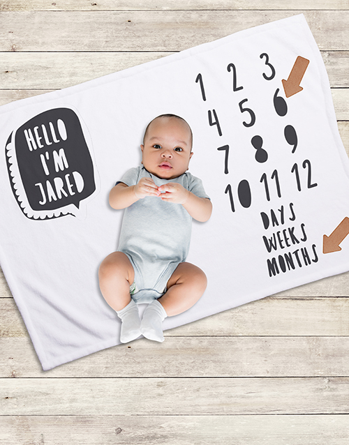 apparel: Personalised Hello Milestone Blanket!