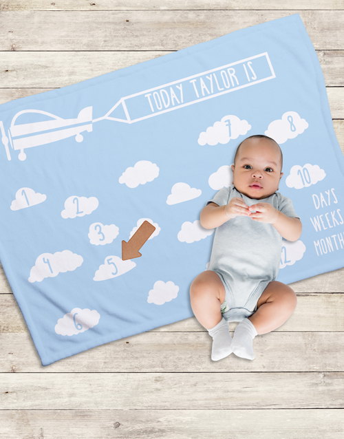 baby: Personalised In The Clouds Milestone Blanket!
