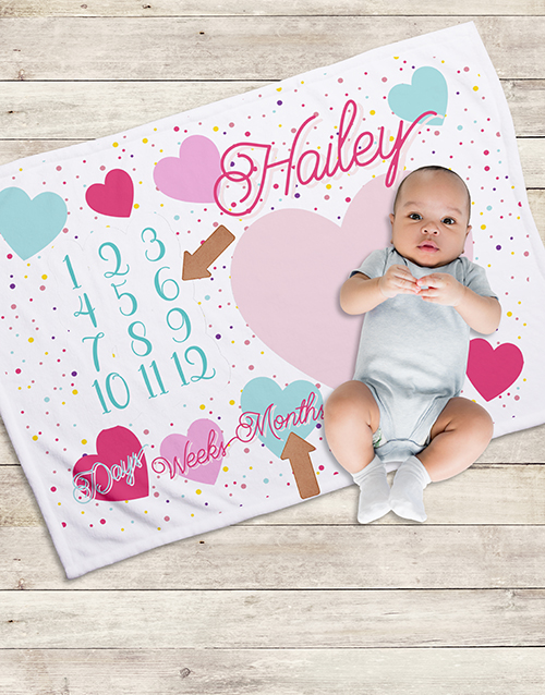 baby: Personalised Hearts Milestone Blanket!