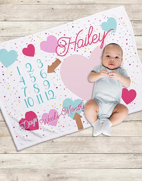 apparel: Personalised Hearts Milestone Blanket!