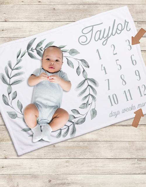 baby: Personalised Wreath Milestone Blanket!