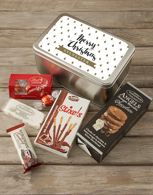 christmas: Personalised Golden Christmas Snack Tin!