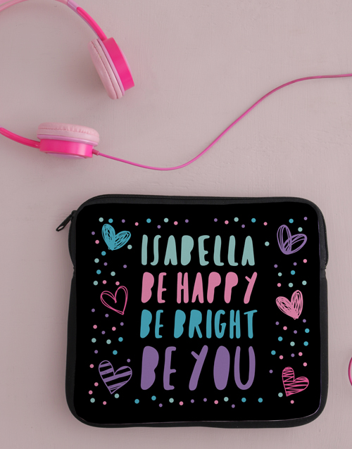 kids: Personalised Neoprene Be Bright Tablet Cover!